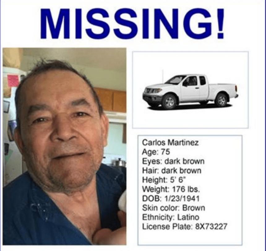 Carlos Martínez desapareció de su hogar en Rosamond el pasado 16 de noviembre.
