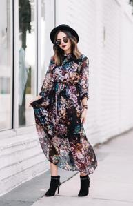 Los vestidos florales elaborados en gasa o velo son unas de las tendencias para los das festivos 2016.