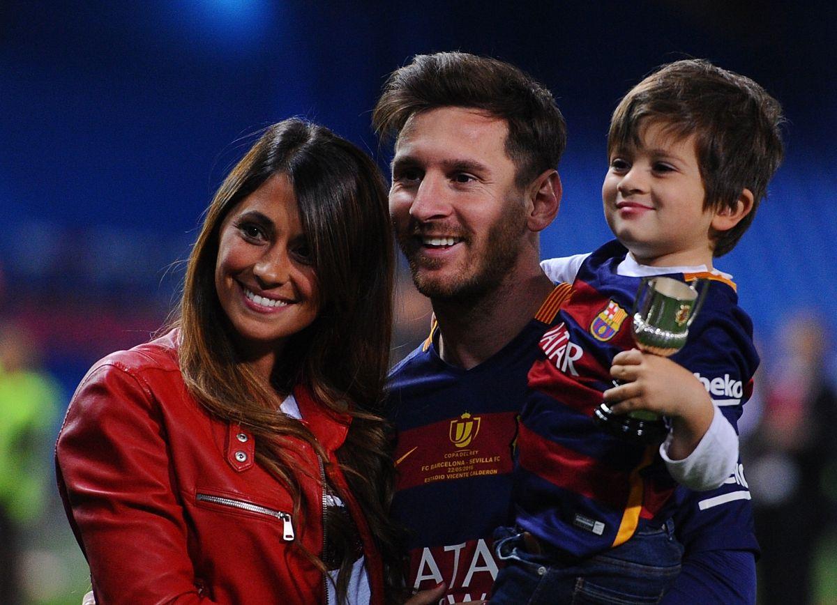Antonella, Messi y su hijo Thiago.