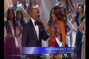 Esto fue lo que le dijo Miss Colombia a Steve Harvey en la presentación de Miss Universo 2016