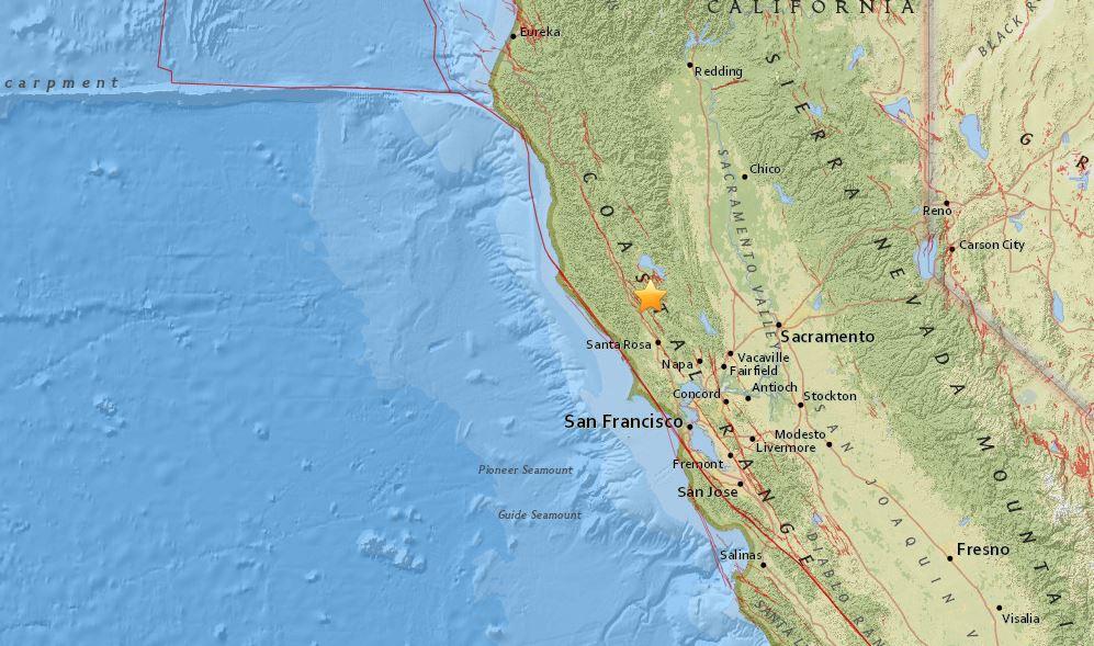 El sismo se registró la noche del lunes en el norte de California.
