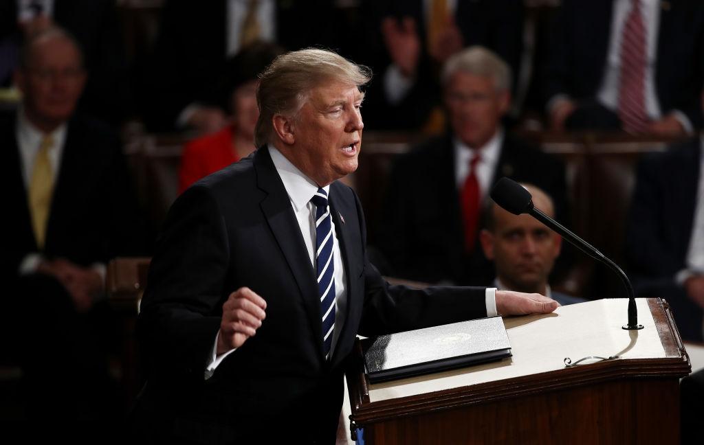 Trump durante su discurso ante el Congreso.