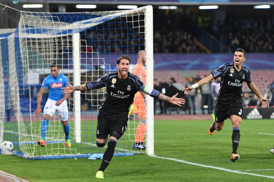 Napoli 1- 3 Real Madrid: Sergio Ramos guió a los merengues a cuartos de final