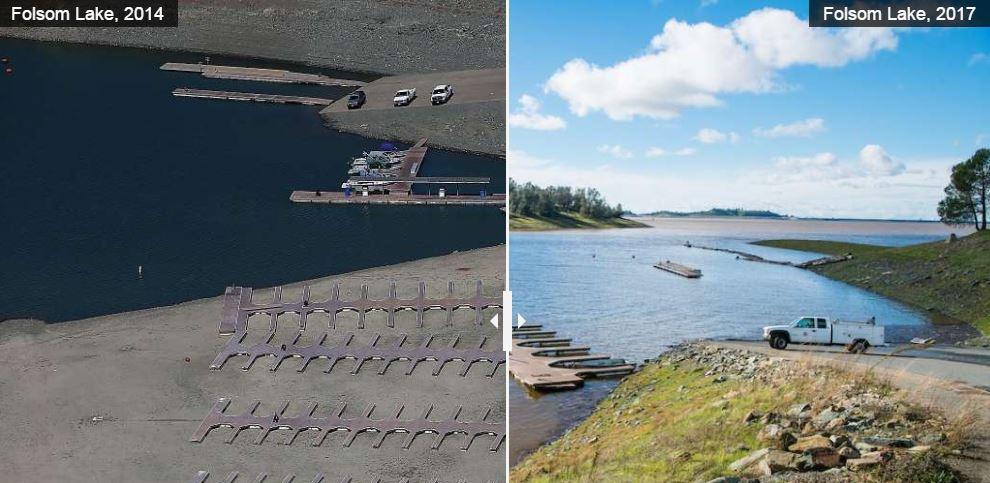 Así luce el lago Folsom antes y después de la lluvia.