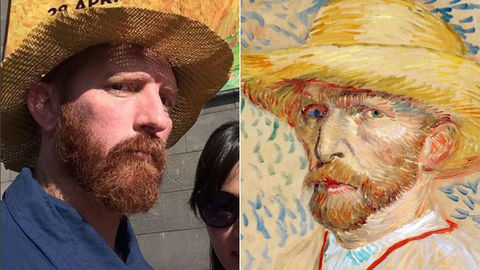 La locura de selfies desatada por un hombre parecido a Van Gogh