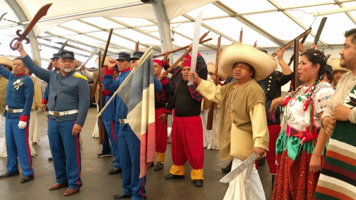 Actores dan vida a la Batalla de Puebla y promueven una reforma migratoria