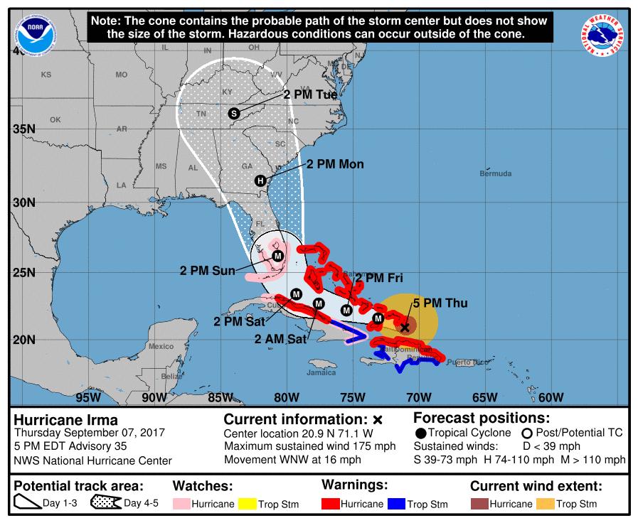 El mapa muestra la posible trayectoria de Irma durante 5 días.