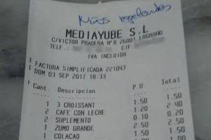 El desagradable mensaje escrito en el ticket de un restaurante