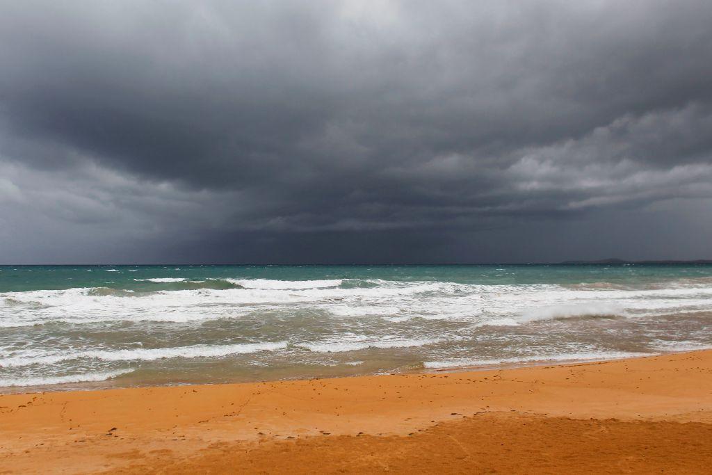 Las nubes del huracán María que se acerca a Luquillo, Puerto Rico.