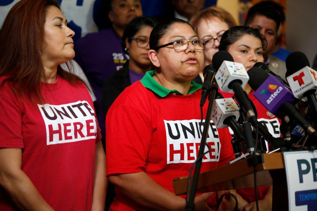 El sindicato de hoteles y restaurantes HERE en Los Angeles ha estado activamente abogando por la extensión del programa TPS ya que muchos de los trabajadores del ramo se verían afectados (Photo Aurelia Ventura/ La Opinion)