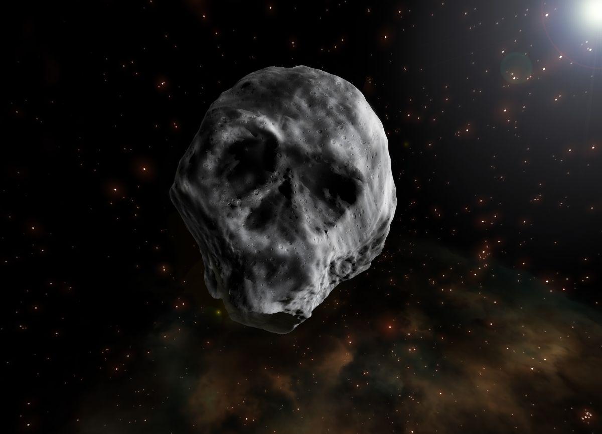 Un artista recrea al asteroide 2015 TB145, que semeja a un cráneo humano.