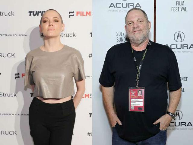 Rose McGowan y Harvey Weinstein.