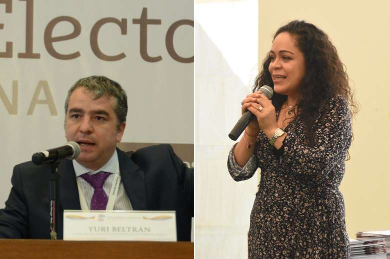 Los consejeros electorales Yuri Beltrán y Carolina del Ángel promueven el voto de mexicanos en el extranjero.
