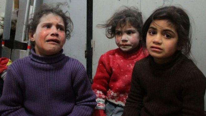 Niños afectados por la guerra en Siria.