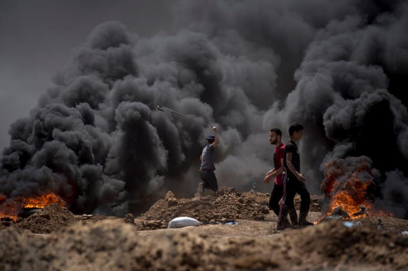 Ataques israelíes en la frontera con Gaza.