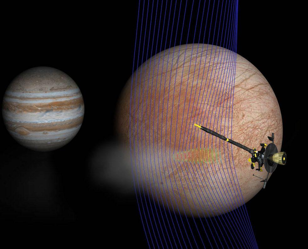 Júpiter y Europa (en primer plano) con la nave espacial Galileo después de su paso a través de una pluma en erupción.