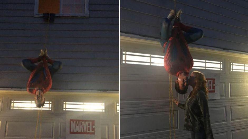Se cuelga del edificio disfrazado de Spider-Man para pedirle una cita