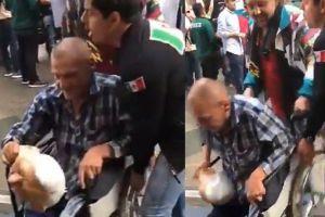 Se justifica mexicano que tiró a hombre inválido con máscara de López Obrador