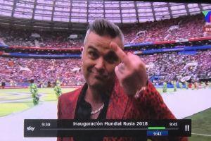 El horrible gesto de Robbie Williams durante la inauguración de Rusia 2018