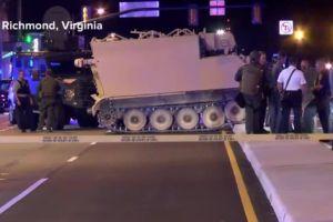 Policía persigue a un soldado que se robó... un vehículo militar blindado