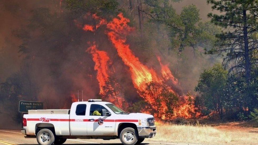 """Los fuertes vientos están aconvirtiendo las llamas en """"un tornado de fuego""""."""