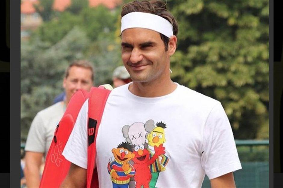 Roger Federer llega a Wimbledon con todo y Plaza Sésamo
