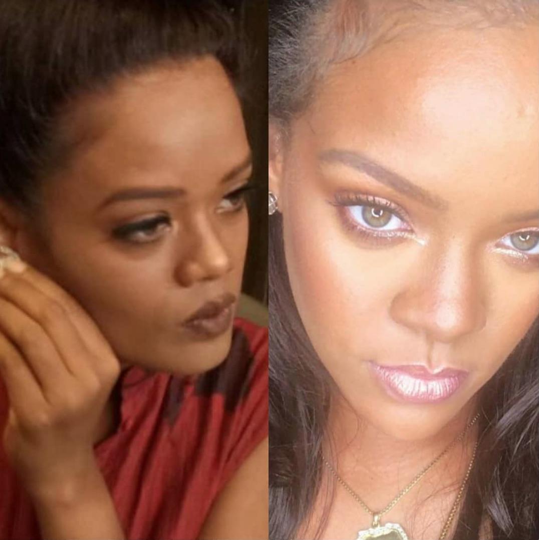 Aquí se puede apreciar el parecido entre la modelo India y la cantante Rihanna.