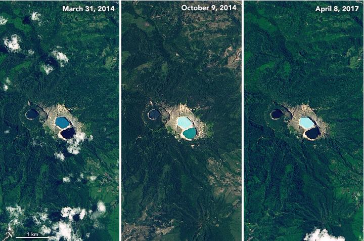 El curioso volcán con 3 lagos que cambian de color impredeciblemente
