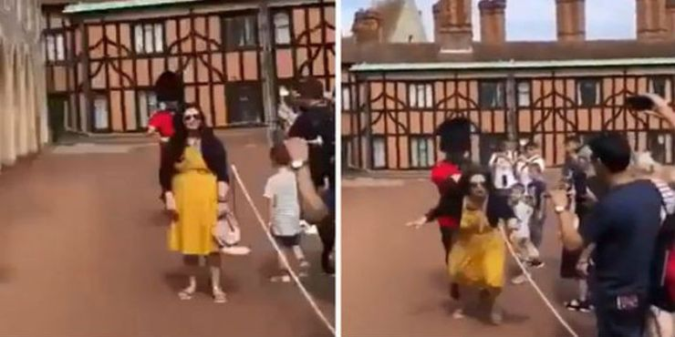 Video: Turista es empujada por un Guardia del castillo de Windsor