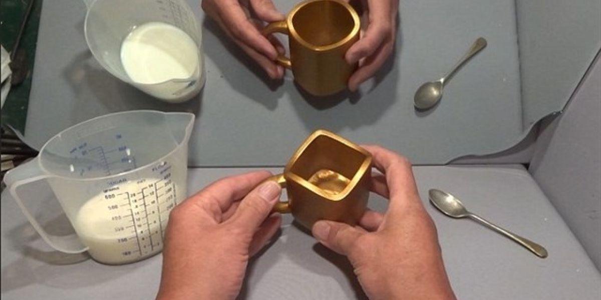 Ilusión óptica de la taza dorada.