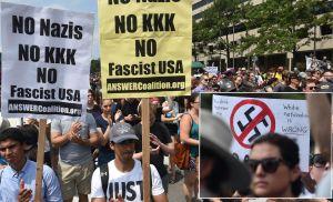 Neonazis y supremacistas blancos arrinconados por manifestantes en frente a la Casa Blanca