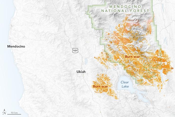 Satélites de NASA revelan las cicatrices del incendio en el condado de Mendocino
