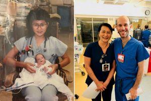 Descubre que su compañero de trabajo es el bebé al que cuidó y salvó hace 28 años