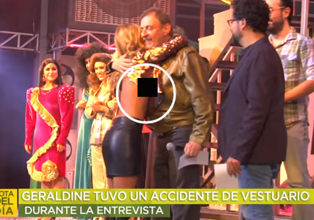 Atrevidísima blusa de Geraldine Bazán deja uno de sus senos al aire por accidente