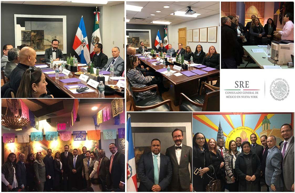 Los diplomáticos mexicanos y dominicanos se reunieron para intercambiar experiencias de servicio.