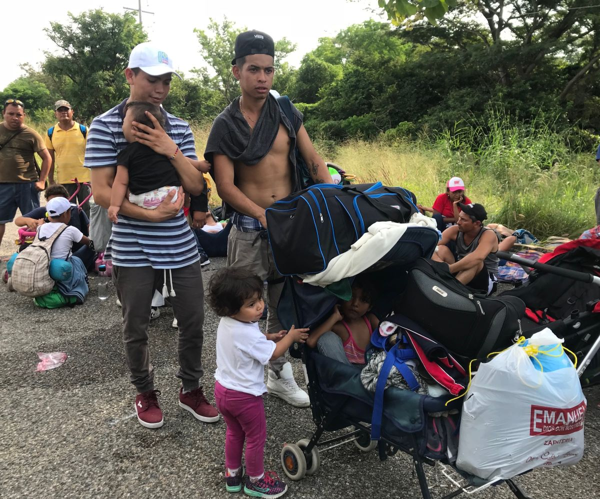 La caravana migrante camino a Tepanapepec desde Arriaga, Chiapas.