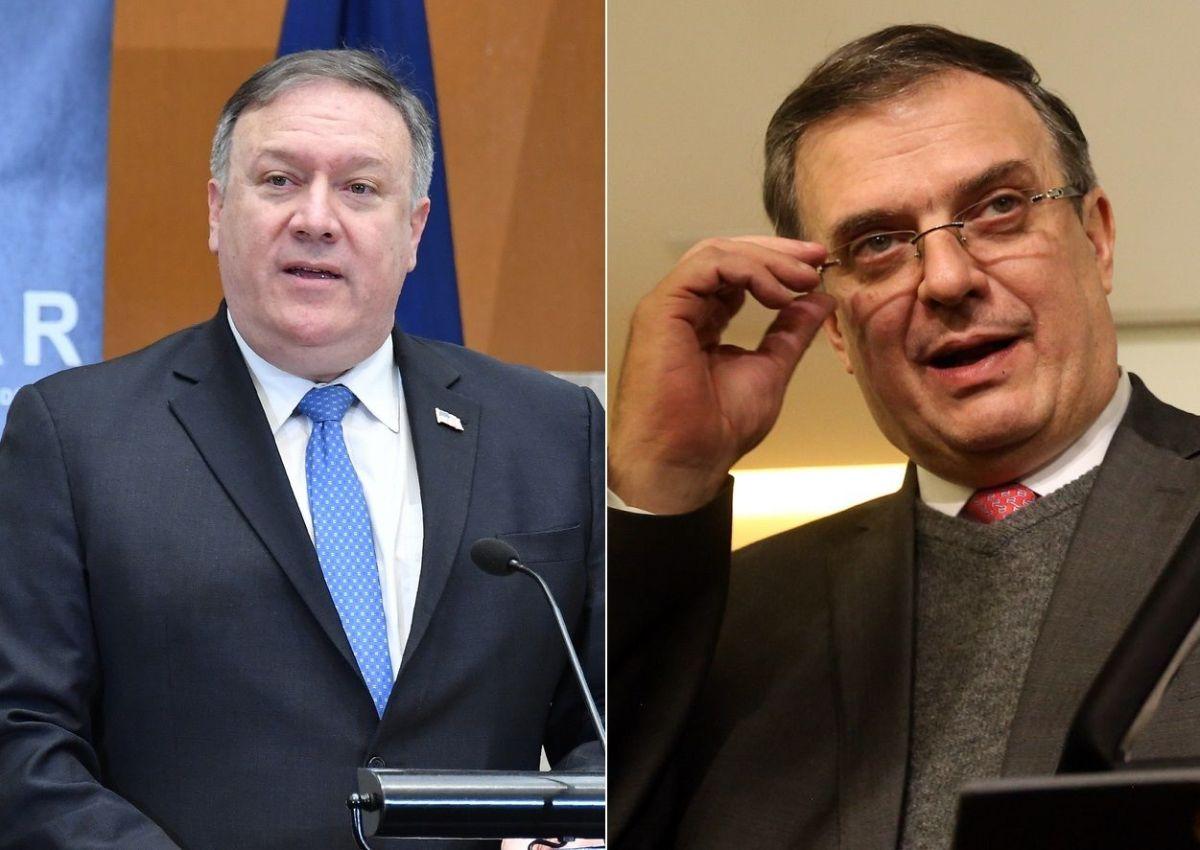El secretario de Estado, Mike Pompeo, y el próximo canciller mexicano, Marcelo Ebrard.