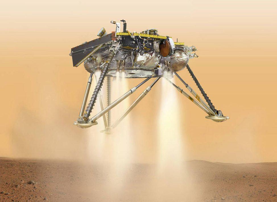Vista simulada del módulo de aterrizaje InSight de NASA.