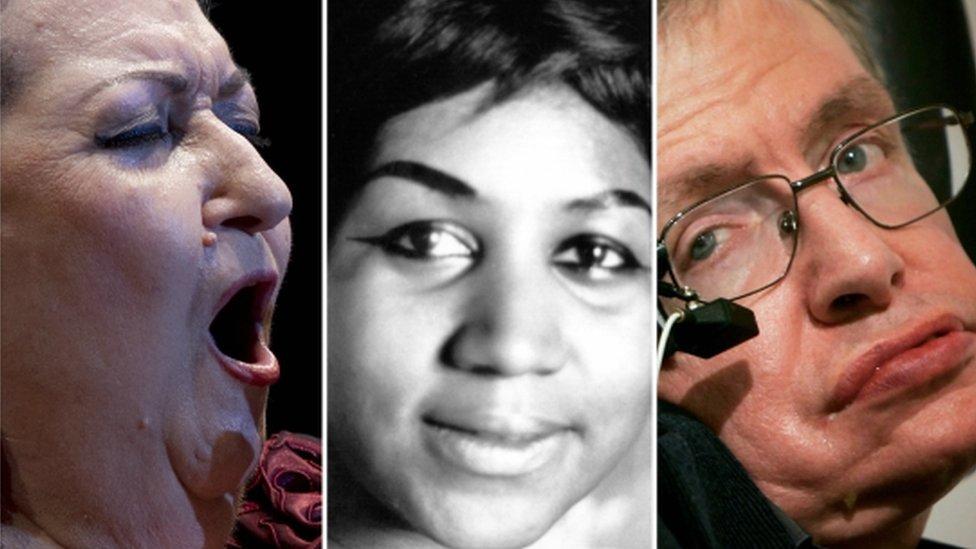 Montserrat Caballé, Aretha Franklin y Stephen Hawking fallecieron este año.