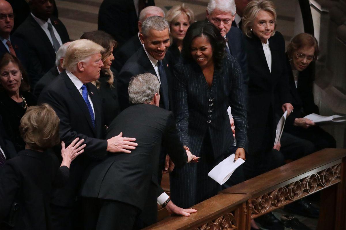 George Bush y Michelle Obama tienen sus bromas personales.