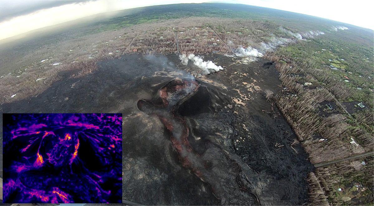 El cono en la fisura 8 y el área de lava el 8 de octubre de 2018.