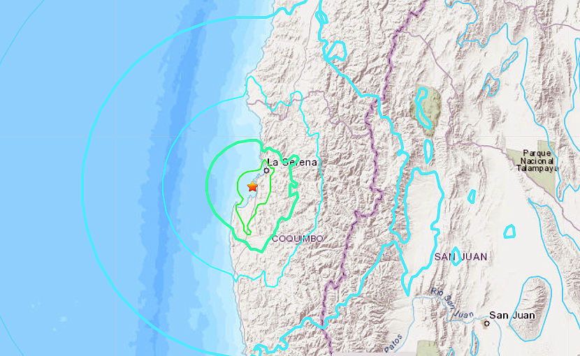 Un fuerte sismo de magnitud 6,7 sacude la zona centro-norte de Chile