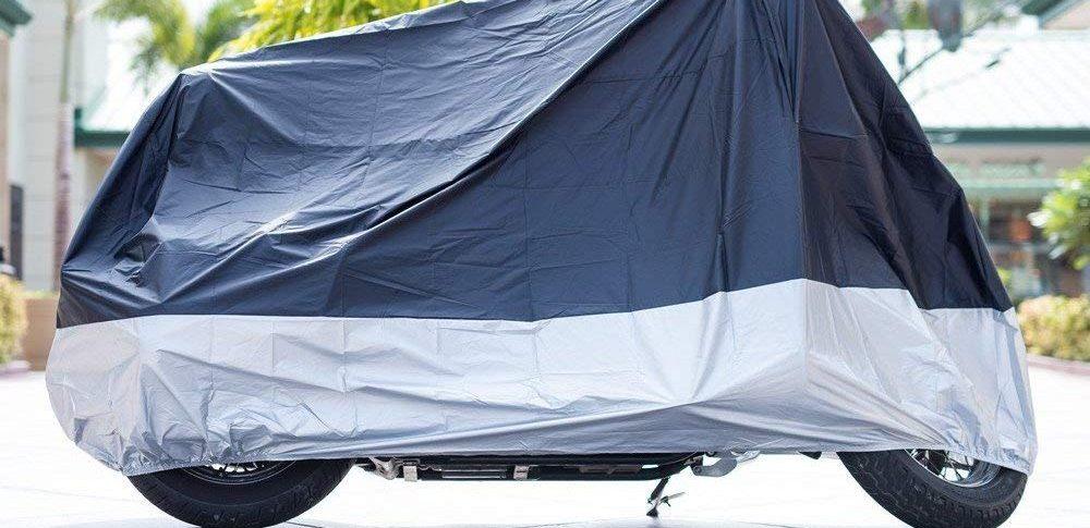 cm AUQUSH AQ190T Cubierta para Moto Impermeable y Anti-UV Duradera y Resistente para Motocicletas de 104 Pulgadas como Honda Harley-Davidson con Oxford Suzuki Kawasaki 190T 265105125 Yamaha