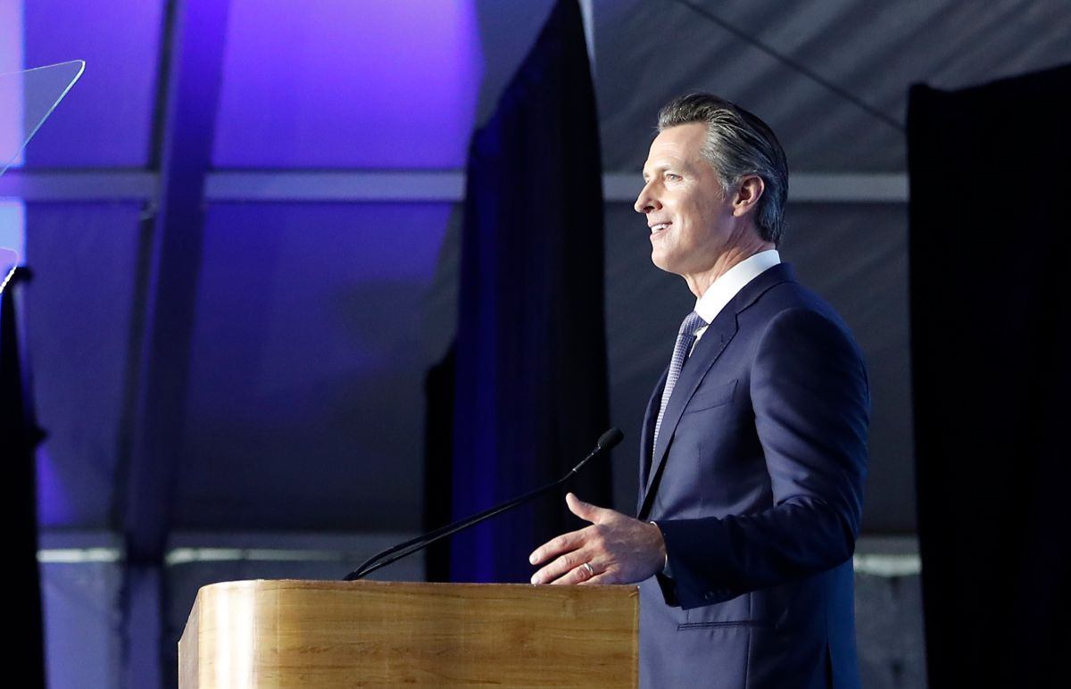Governador de California, Gavin Newsom, durante su discurso inaugural del pasado enero.