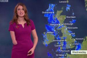 Lucy Martin, la bella presentadora del tiempo que triunfa sin una mano en la BBC