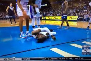 Video: Estrella de la NBA sufre escalofriante golpe en la cabeza contra el piso