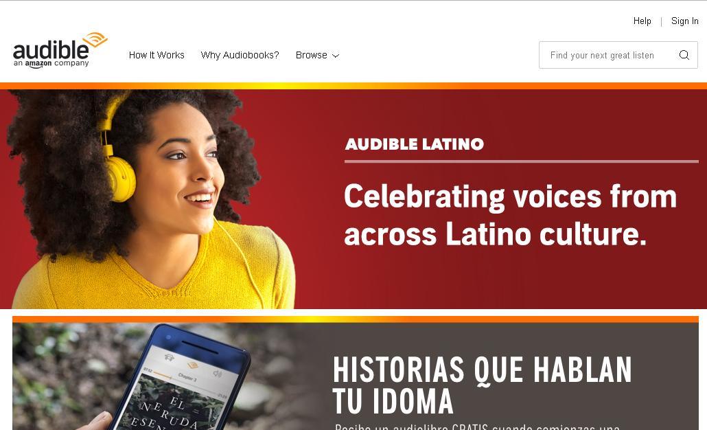 Captura de pantalla de Audible Latino de Amazon.