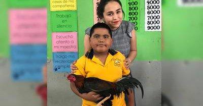 Niño regala su mejor gallo a su maestra, ella lo presume en Facebook