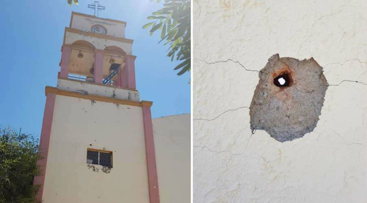 Iglesia queda dañada tras enfrentamiento entre narcos en México