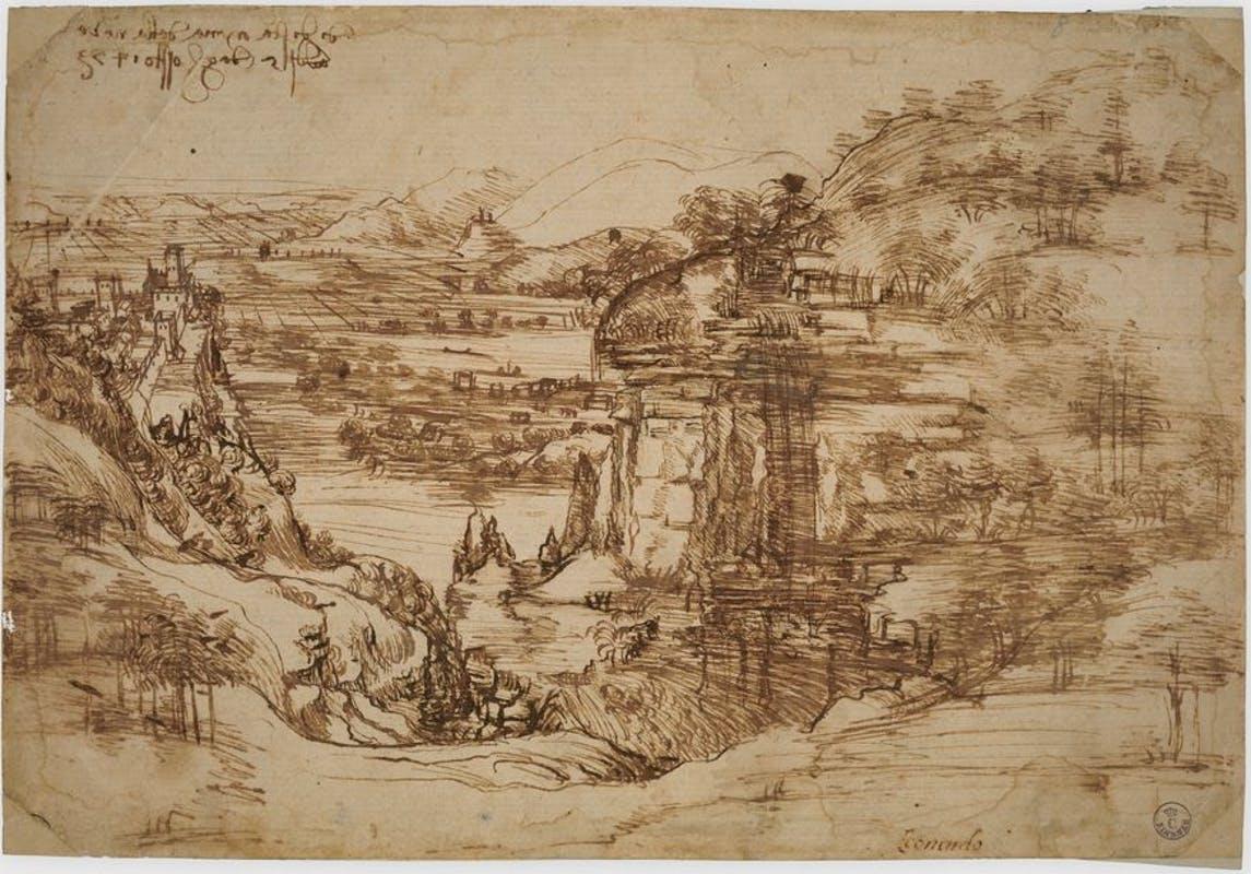 La obra 'Paesaggio', de Leonardo Da Vinci.